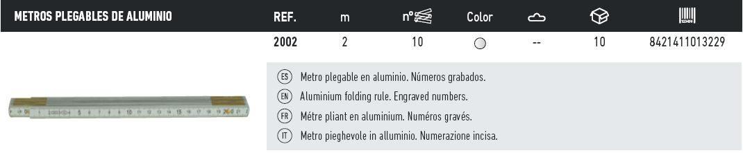 Tabla metros aluminio