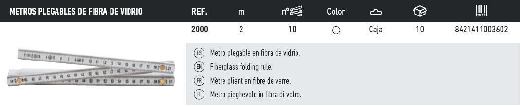 Tabla metros fibra