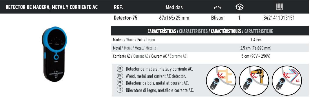 detector de madera, metal y corriente AC