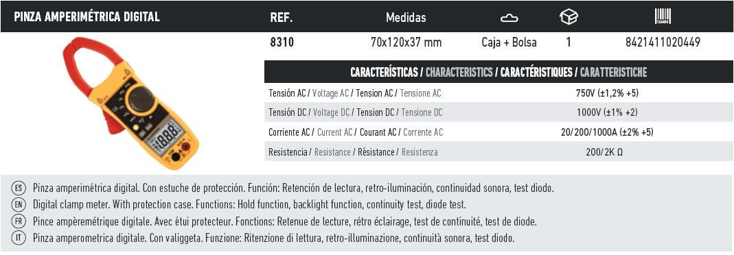pinza amperimetrica digital 8310