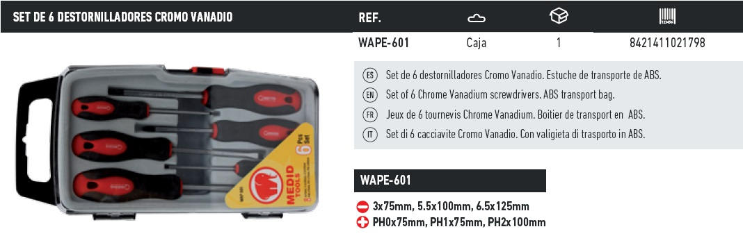 set de 6 destornilladores cromo vanadio WAPE-601