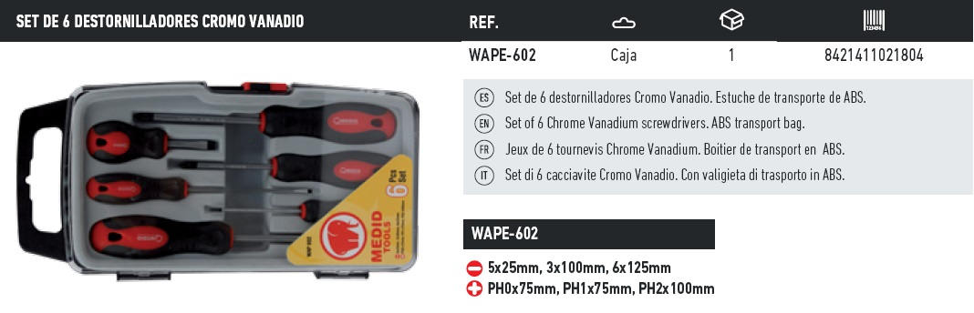 set de 6 destornilladores cromo vanadio WAPE-602