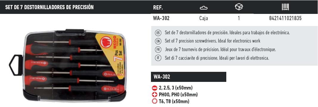 set de 7 destornilladores de precision WA-302