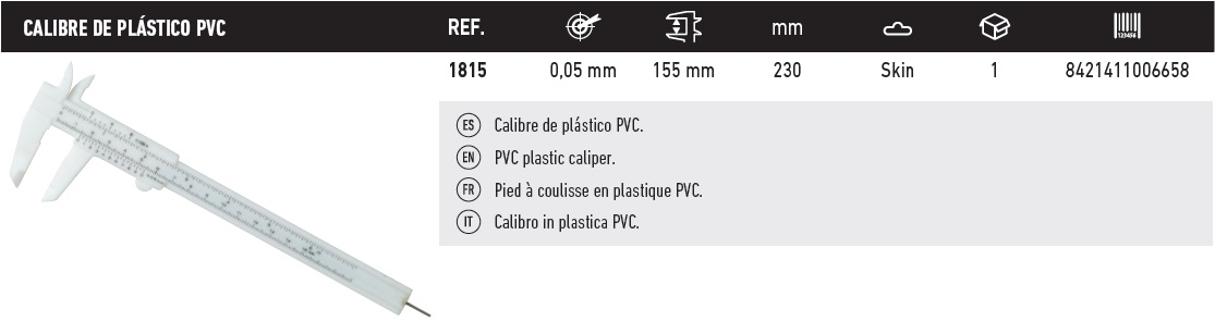 tabla calibre de plastico