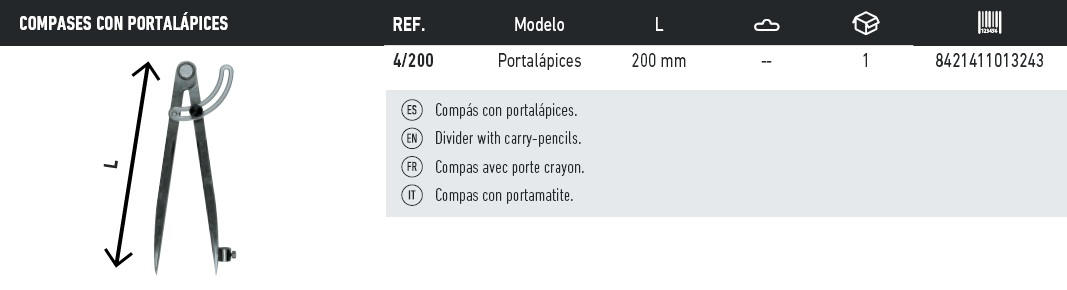tabla compases con portalapices