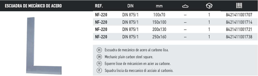 tabla escuadra de mecanico de acero sin talonera