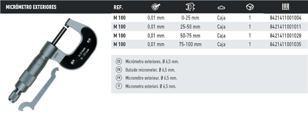 tabla micrometro exterior